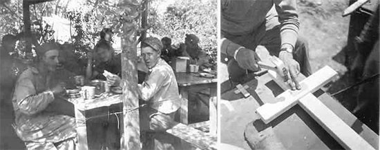 Daily occupations. Left photo: personnel of the 607th QM GR Co having chow at St-Laurent-sur-Mer Cemetery. Right photo: member of the 607th QM GR Co nailing a Dog Tag onto a wooden cross (preliminary identification of individual grave).