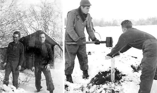 Establishing, collecting and burial operations at Henri-Chapelle Cemetery. Left photo; from L to R: Private Eugene R. Worley and Sergeant Elwain Crawford. Right photo: from L to R: Private First Class William L. Tollefson and Private Garland E. Robinson erecting wooden crosses.