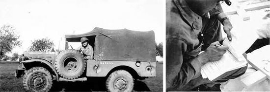 "Left photo; Private First Class Kenneth J. Rehmer with Weapons Carrier (photo taken either at Fosses-la-Ville or Henri-Chapelle, end September 1944). Right photo; 607th QM GR Co serviceman completing Graves Registration Report No. 1 (Revised 1 Sept. 1943) designated ""Report of Burial""."