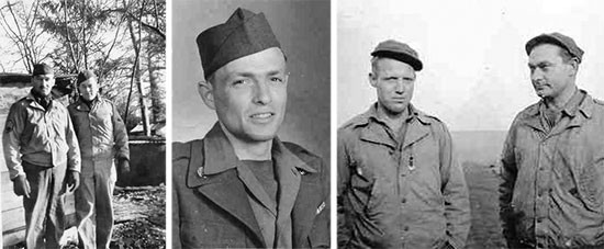 Left photo; from L to R: Staff Sergeant Francis L. Kinzel and Technician 4th Grade Stephen M. Benton. Center photo; Private First Class John D. Little. Right photo; from L to R: Sergeants Virgil W. Buck and Tellus A. Cramer.