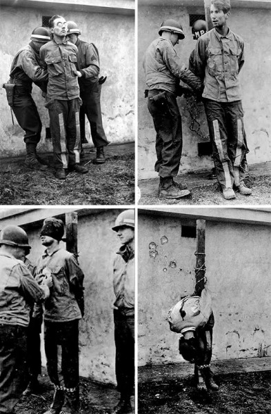 Execution by firing squad of Germans caught wearing American uniforms following the outbreak of the enemy counter-offensive in the Belgian Ardennes. Following trial on December 21, the enemy PWs were executed near Henri-Chapelle Cemetery December 23, 1944 and their bodies processed by members of the 607th QM GR Co. More prisoners were tried and executed respectively on December 26, December 31, 1944, and January 13, 1945.