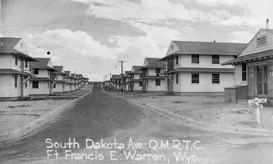 Partial view of barracks at Fort Francis E. Warren, Cheyenne, Wyoming, (Army Service Forces Training Center), where the 607th QM GR Co would remain from September 19 until December 31, 1943.