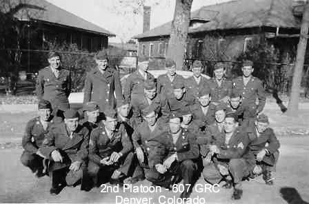 Photo illustrating members of Second Platoon, 607th QM GR Co, during their stay at Denver City Hospital for some aspects of training. This photo was taken in November 1943.
