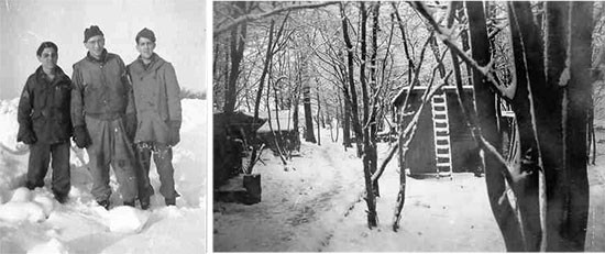 Winter operations at Henri-Chapelle Cemetery. Left photo; from L to R: Sergeant Michael B. Dimattia, Private Edward D. Gellenbeck, and Private James F. McWorther. Right photo; temporary wooden huts set up by 607th QM GR Co personnel near the Cemetery.
