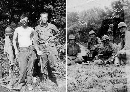 Omaha Beach operations. From L to R: Sergeants Carroll K. Moore and Luvern C. Whitson take a short rest. Second Platoon personnel having chow while serving on Easy Red Beach June 8, 1944. From L to R: Private First Class Nick H. Cobble, Technician 5th Grade Herculano E. Esquibel, Technical Sergeant Norman L. Beadles (rear), Private Eugene R. Worley, and Private First Class John D. Little (far right).