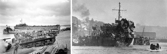 "hotographs illustrating some aspects of the training during ""Exercise Tiger"", and the damages caused by the German naval surprise attack to some of the ships (LST 289) participating in the exercise. Period April 22-30 April 1944. First Platoon took some heavy losses during the attack."